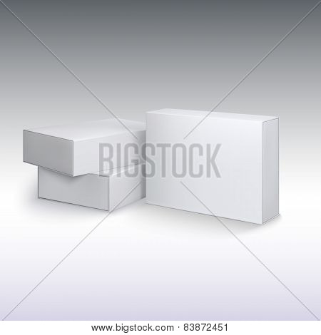 White product cardboards, package boxes mockup.
