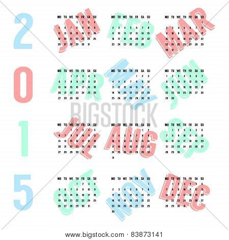 black european calendar of 2015 year on colored months