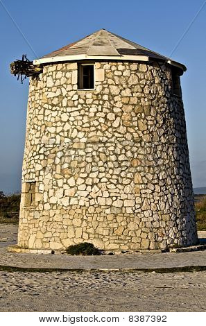 Windmill at Lefkada islnad in Greece