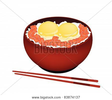 Bowl Of Boiled Rice With Raw Egg And Salmon