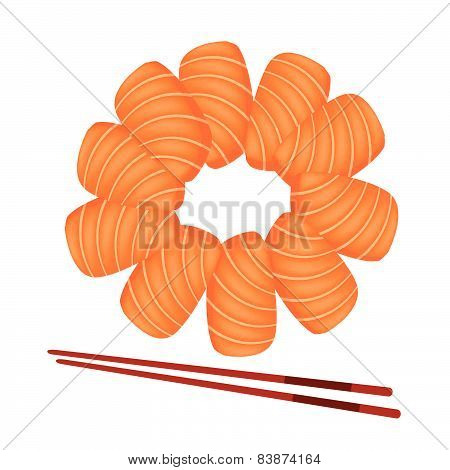 Salmon Sashimi With Chopsticks On White Background