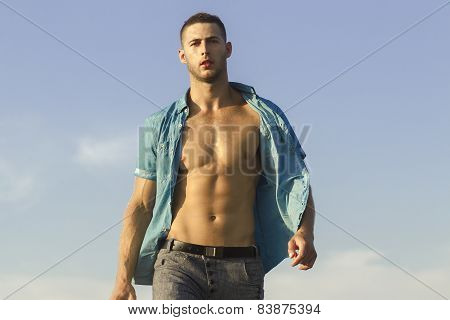Young Handsome Athletic Man With Naked Torso