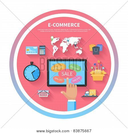 Internet shopping concept with monitor screen
