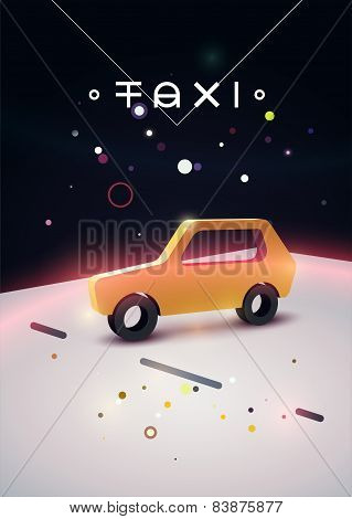 Taxi typographic modern poster with isometric taxi cab. Vector illustration.