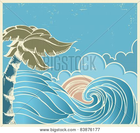 Blue Seascape With Big Wave And Sun On Old Poster