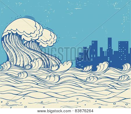 Big Waves Poster Illustration On Old Paper Texture