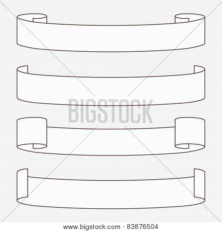 Set of white horizontal scrolls.