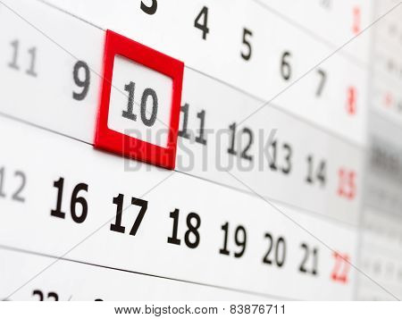 Sheet of the wall calendar with moveable date marker