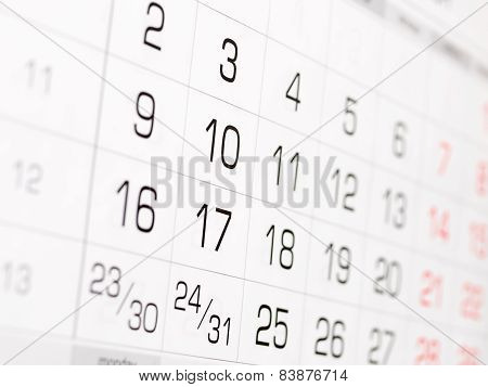 Sheet of the wall calendar with digits
