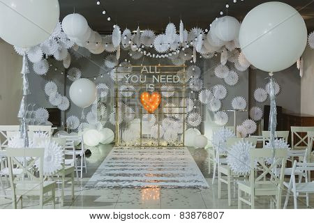 wooden arch at wedding ceremony