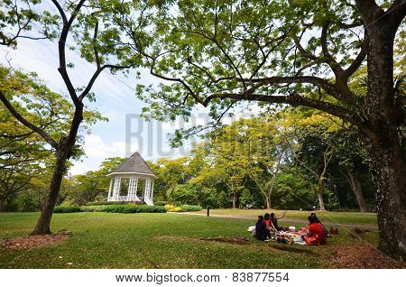 People picnic in the Singapore Botanic Garden