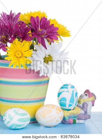 Flower Pot And Easter Eggs