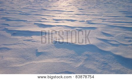 Snowdrifts At Contre-jour Lighting, Sunset