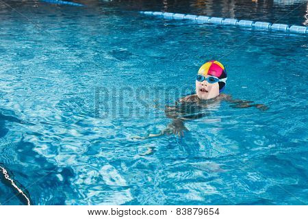 Activities On The Pool Young Boy Swimming Fitness