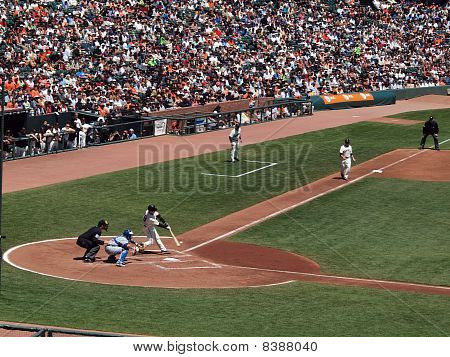 Giants Buster Posey Waits For Pitch From Cubs Randy Wells