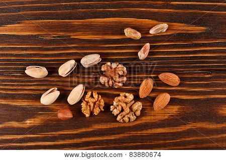 Assorti And Mix Of Nuts Pistachios, Walnuts, Hazelnuts, Almonds