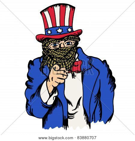 Isolated cartoon the fake doppelganger of uncle sam
