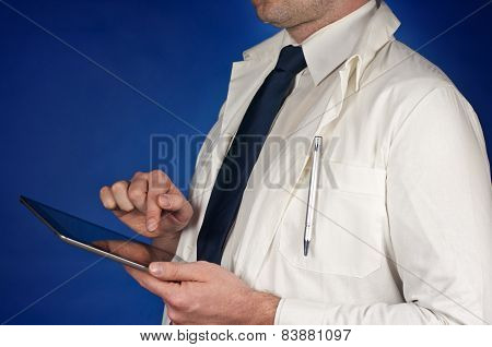 Modern Doctor Wearing Tie With Tablet Isolated On Blue