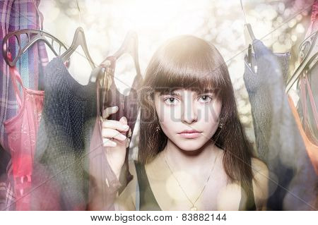 Dreamy Portrait Of A Teenage Girl With Her Wardrobe, With Backlit And Bokeh