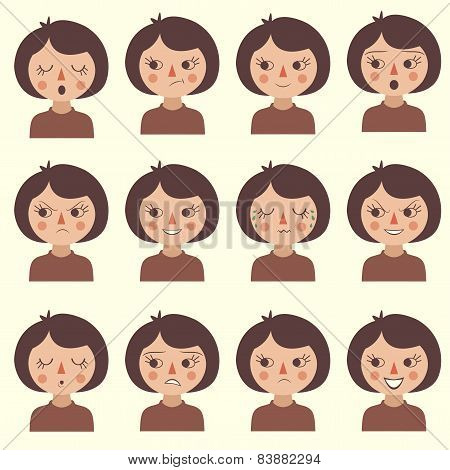 cartoon vector face emotion