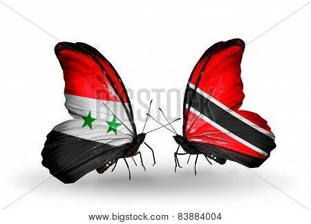 Two Butterflies With Flags On Wings As Symbol Of Relations Syria And Trinidad And Tobago