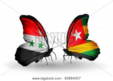 Two Butterflies With Flags On Wings As Symbol Of Relations Syria And Togo