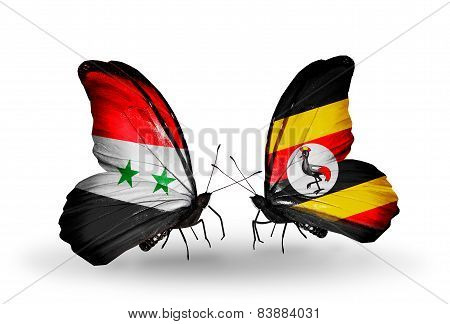 Two Butterflies With Flags On Wings As Symbol Of Relations Syria And Uganda