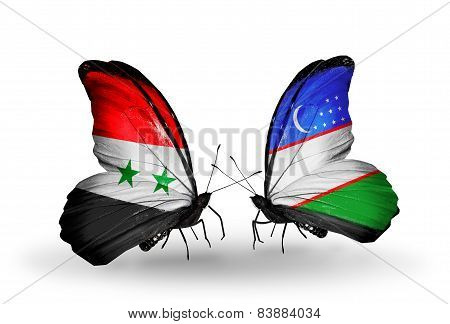 Two Butterflies With Flags On Wings As Symbol Of Relations Syria And Uzbekistan