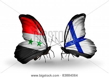 Two Butterflies With Flags On Wings As Symbol Of Relations Syria And Finland