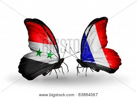 Two Butterflies With Flags On Wings As Symbol Of Relations Syria And France