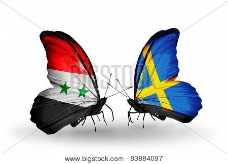 Two Butterflies With Flags On Wings As Symbol Of Relations Syria And Sweden