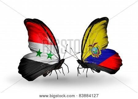 Two Butterflies With Flags On Wings As Symbol Of Relations Syria And Ecuador