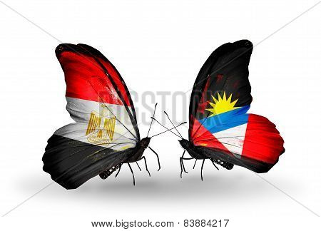Two Butterflies With Flags On Wings As Symbol Of Relations Egypt And Antigua And Barbuda