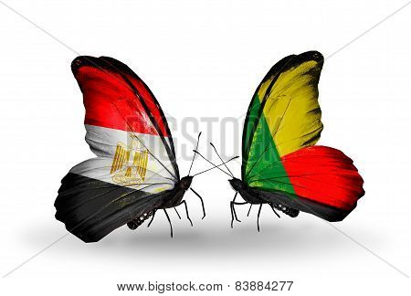 Two Butterflies With Flags On Wings As Symbol Of Relations Egypt And Benin