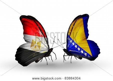Two Butterflies With Flags On Wings As Symbol Of Relations Egypt And Bosnia And Herzegovina