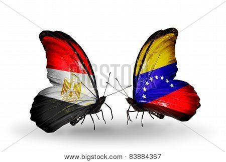 Two Butterflies With Flags On Wings As Symbol Of Relations Egypt And Venezuela