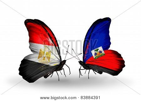 Two Butterflies With Flags On Wings As Symbol Of Relations Egypt And Haiti