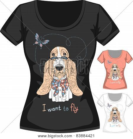 Vector T-shirt with dog Basset Hound