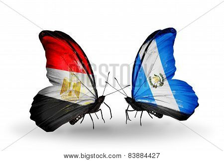 Two Butterflies With Flags On Wings As Symbol Of Relations Egypt And Guatemala