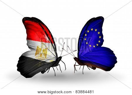 Two Butterflies With Flags On Wings As Symbol Of Relations Egypt And European Union