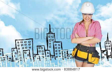Woman in tool belt and helmet. Sketch buildings as backdrop