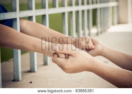 Two Kid Hand Hold Together