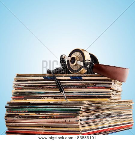 Headphones And Vinyl Records.