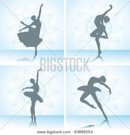 Set Of Ballet Dancers Silhouettes. Vector Illustration.