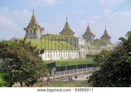 Railway station building in Yangon, Myanmar