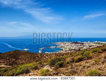 Los Cristianos And La Gomera, View From Guaza Mountain. Tenerife, Canary Islands. Spain