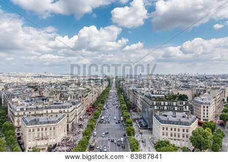 Champs Elysees Avenue View From Arc De Triomphe, Paris, France