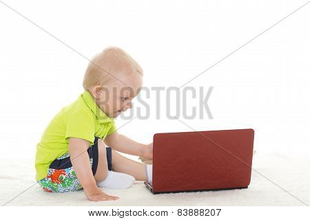 Baby Boy With Laptop.