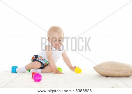 Sweet Small Baby With Toy.