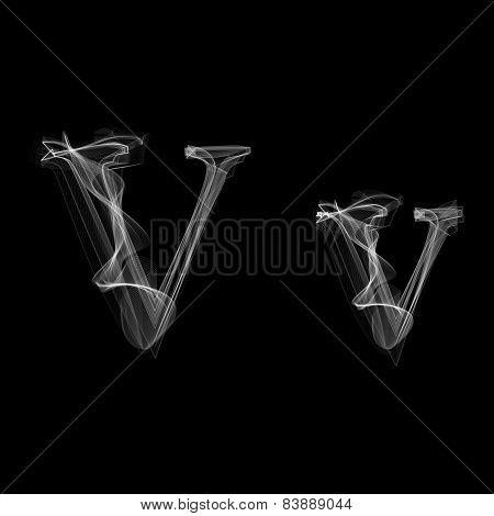 Smoke font. Letter V